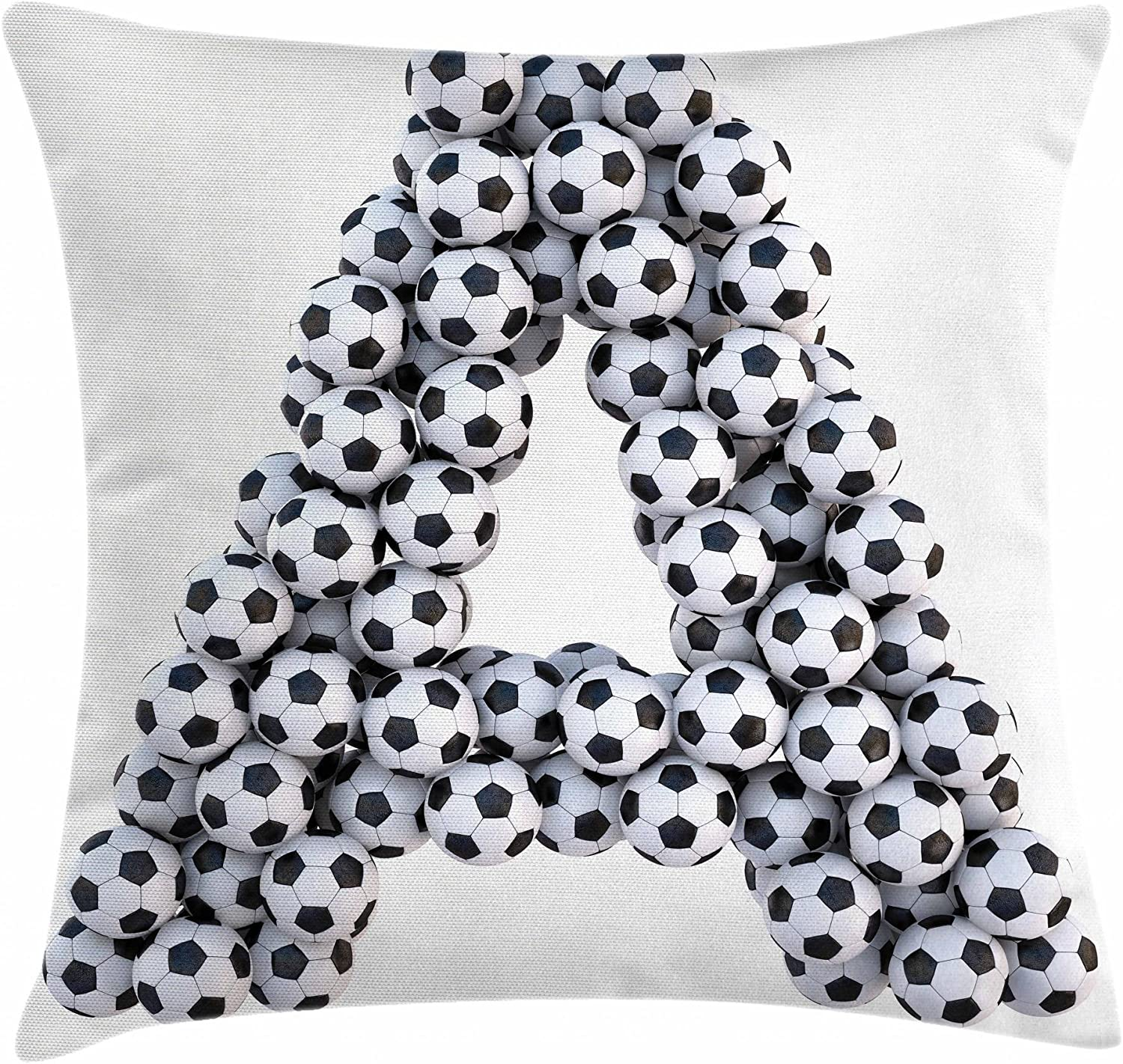 "Ambesonne Letter a Throw Pillow Cushion Cover, Realistic Soccer Balls in Form of Capital Sports Play League Competition Theme, Decorative Square Accent Pillow Case, 18"" X 18"", Black White"