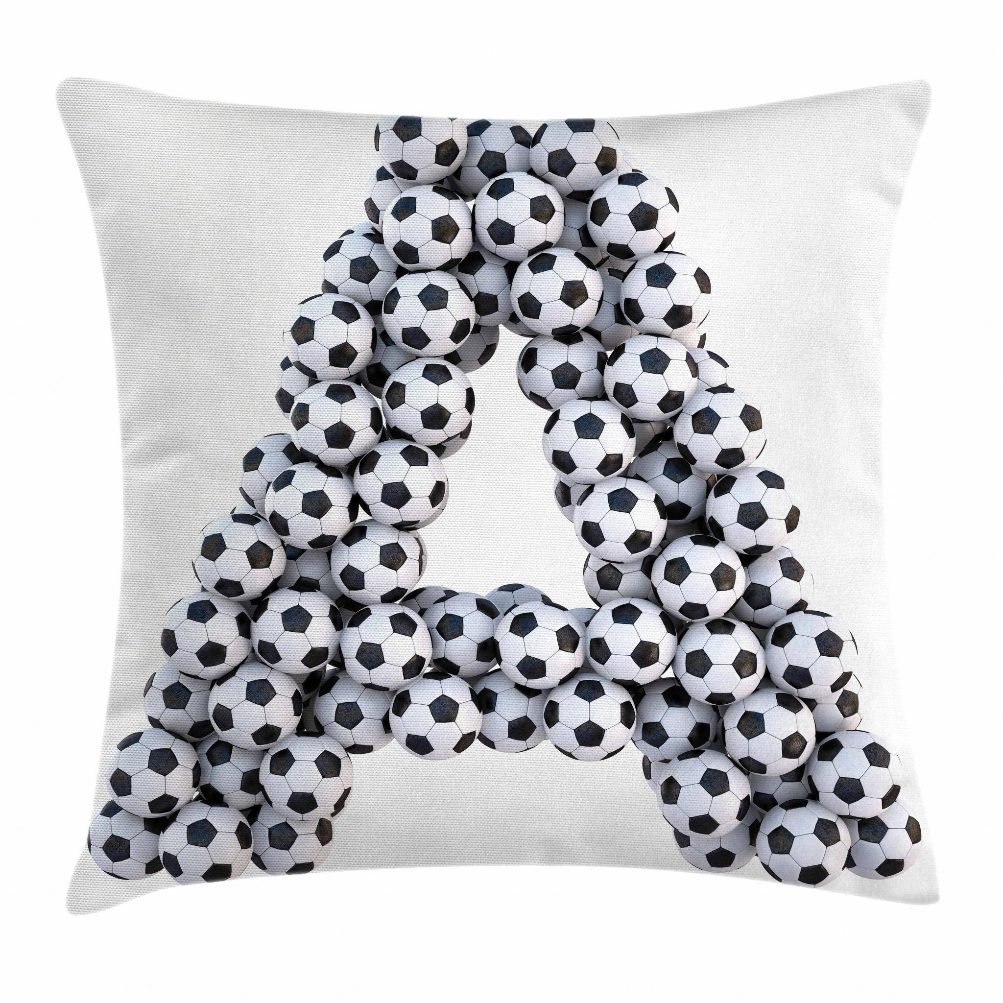 Ambesonne Letter A Throw Pillow Cushion Cover, Realistic Soccer Balls in Form of Capital A Sports Play League Competition Theme, Decorative Square Accent Pillow Case, 16 X 16 Inches, Black White