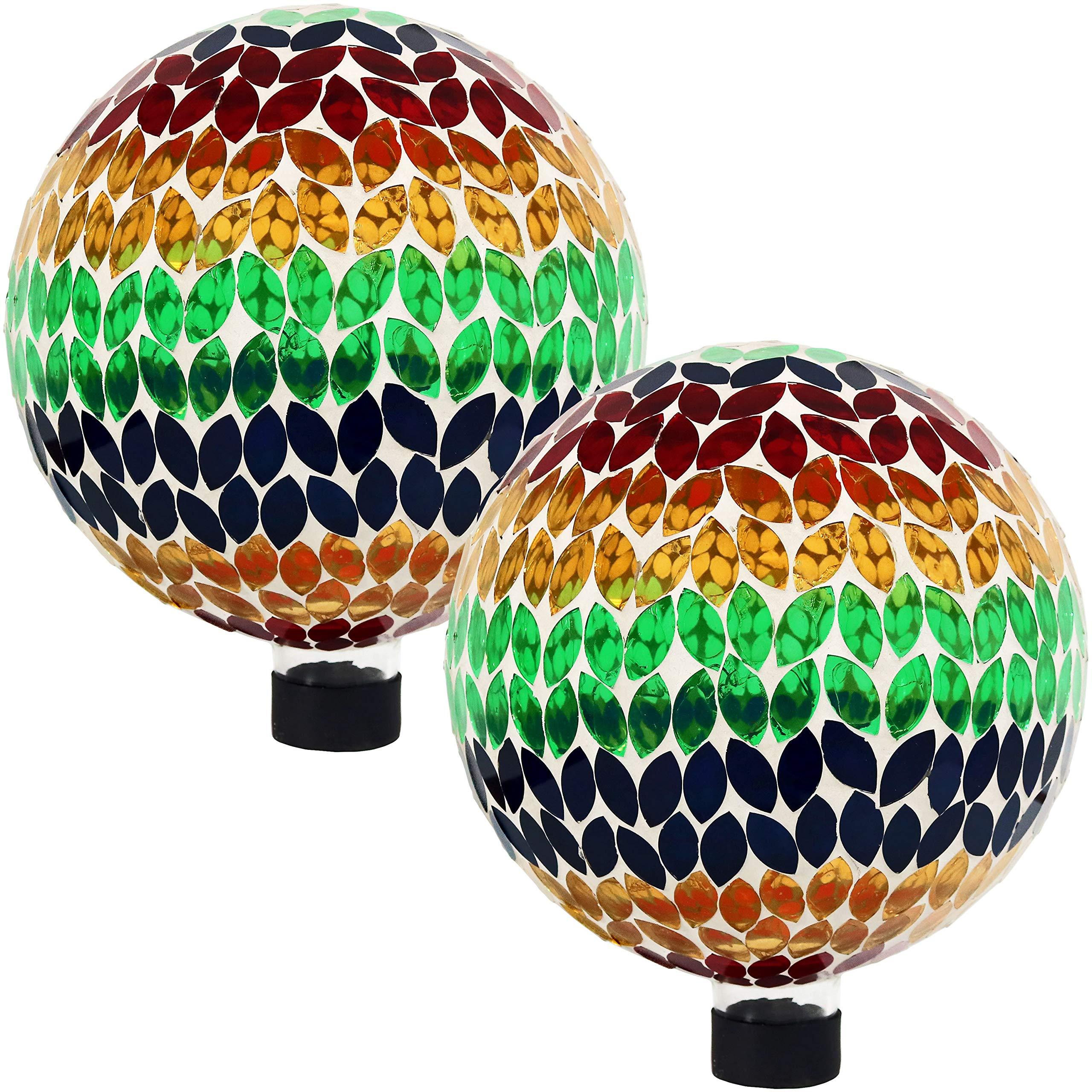 Sunnydaze Mosaic Gazing Globe Glass Garden Ball, Outdoor Lawn and Yard Ornament, Multi, 10 Inch, Set of 2