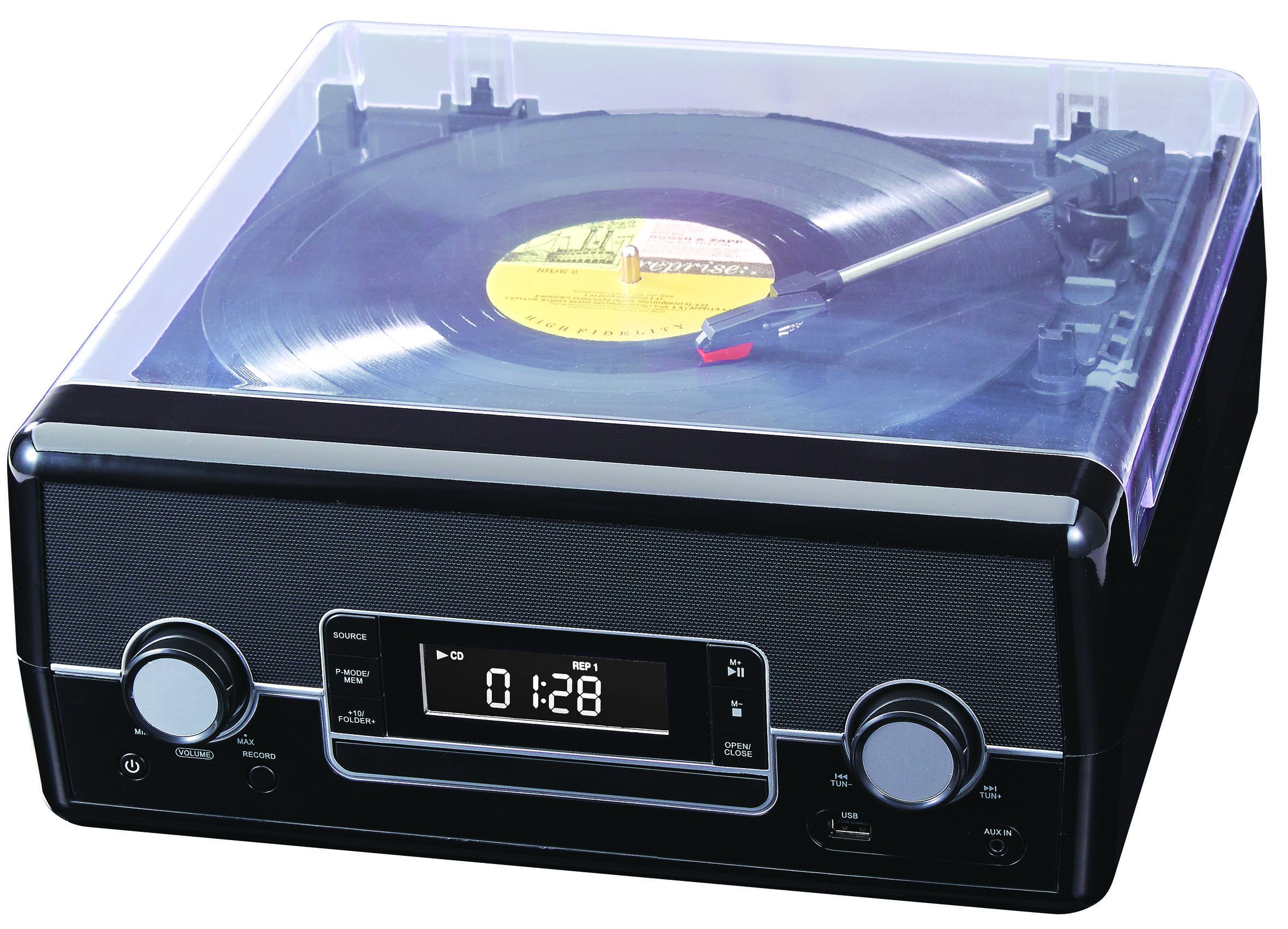 Deluxe Turntable with Direct Encoding and USB Charging + CD and Radio, Black