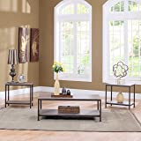 Modern Rectangular Coffee Table with 2 End Tables Living Room Set (3PC Set in Rust)