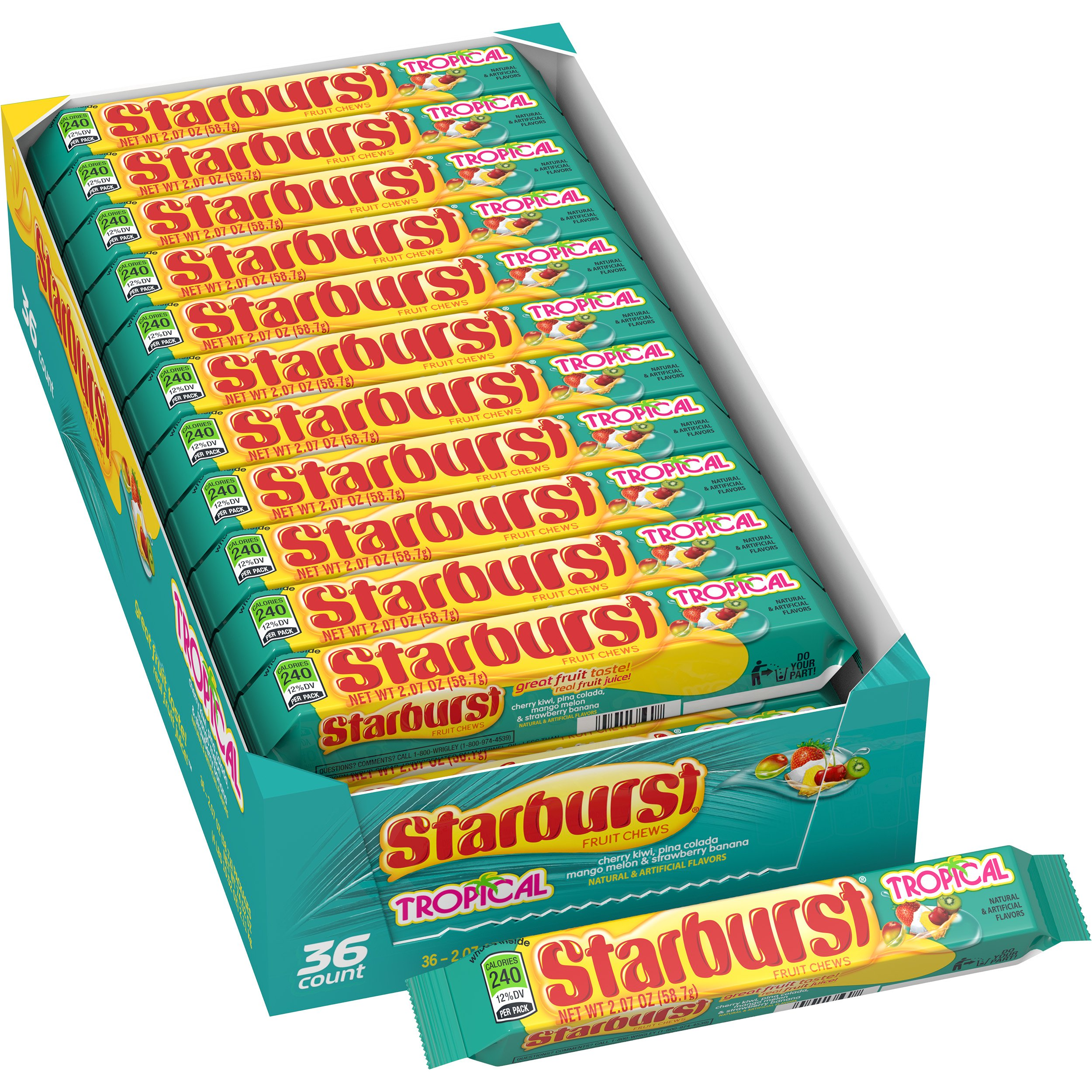 Starburst Tropical Fruit Chews Candy, 2.07 ounce (36 Single Packs) by Starburst