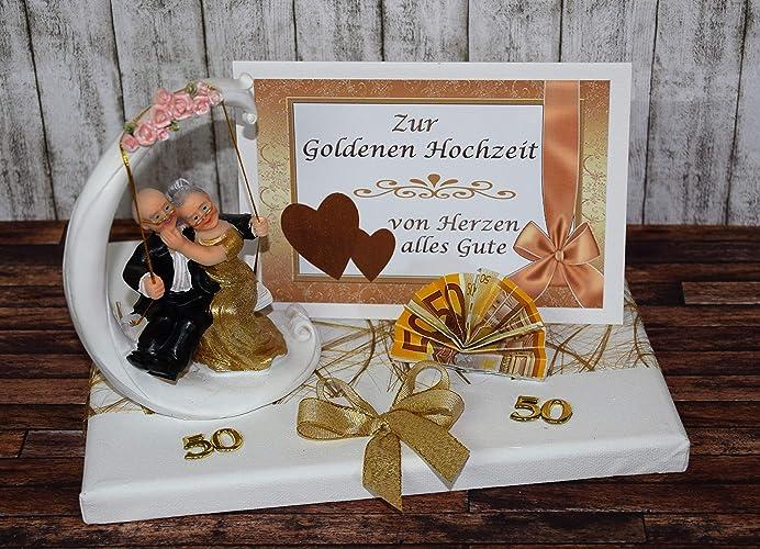 Geld Geschenk Zur Goldenen Hochzeit Mit Goldpaar Auf Schaukel