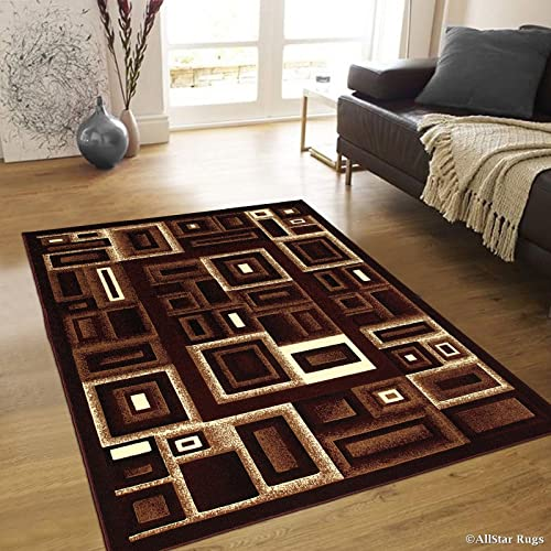 Allstar 8×10 Burgundy and Mocha Modern and Contemporary Machine Carved Rectangular Accent Rug with Ivory and Espresso Geometric Design 7 9 x 10 2