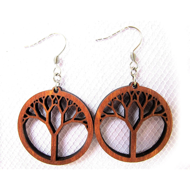 b1cb189afef8cd Amazon.com: Wooden Earrings Tree of Life, Laser Cut Hoop Earrings with  Hypoallergenic Ear Wire, Yoga Spiritual Jewelry: Handmade