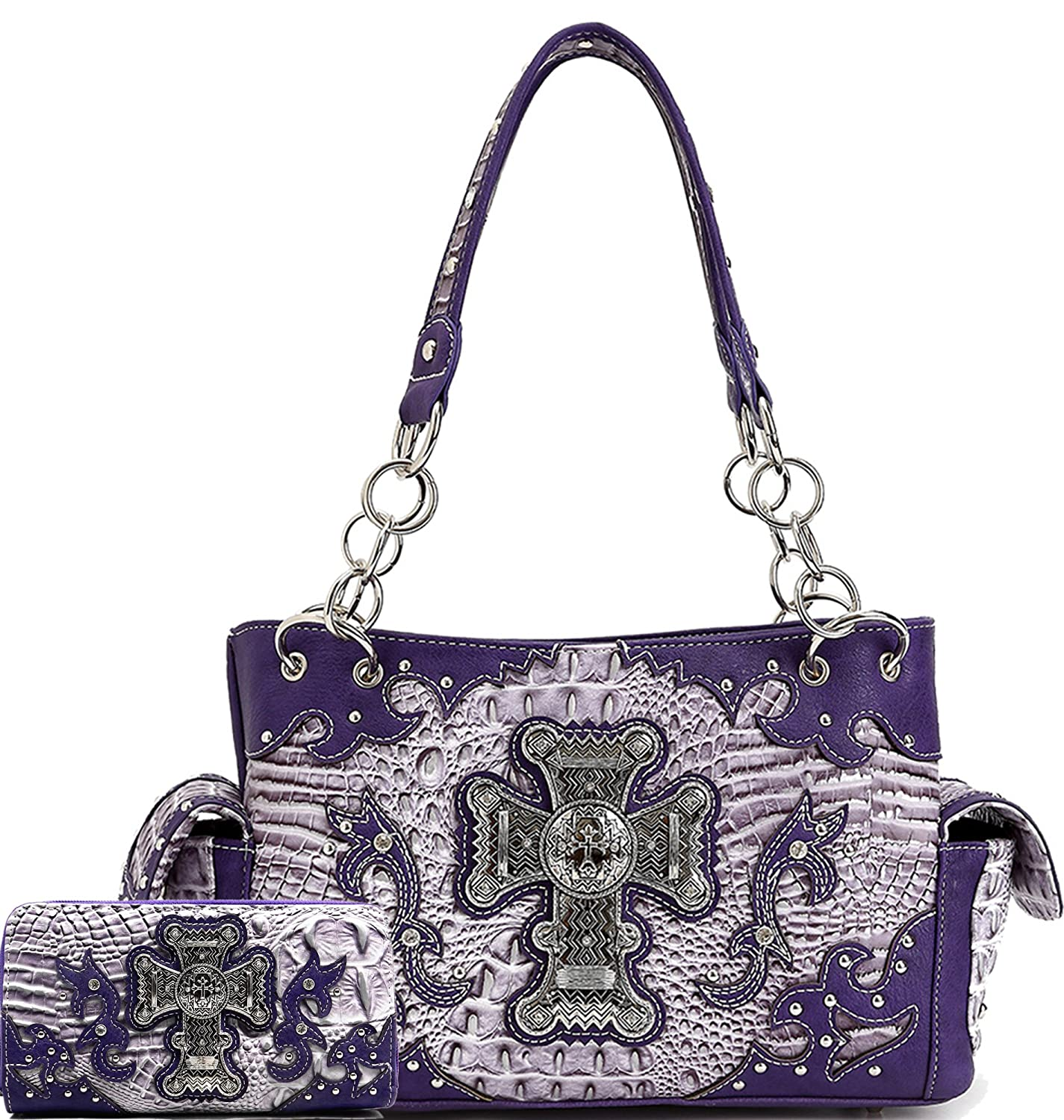 Cowgirl Trendy Western Cross Alligator Pattern Concealed Carry Purse Shoulder Handbag Wallet SET Purple