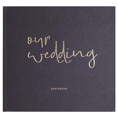 JO & JUDY Hochzeitsgästebuch Our Wedding - Fragen zum Ausfüllen - Hardcover Buch mit 92 Seiten und Platz für Fotos - Graues G