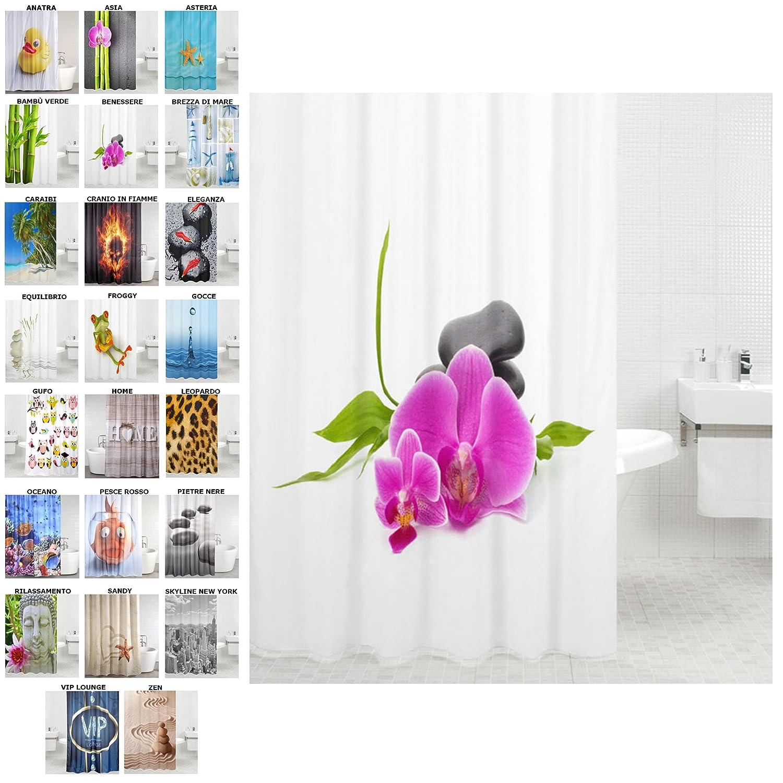 Tenda da doccia | grande scelta di belle tende da doccia di alta qualità | 12 anelli inclusi | impermeabile | effetto anti-muffa (180 x 180 cm, Anatra) SANILO
