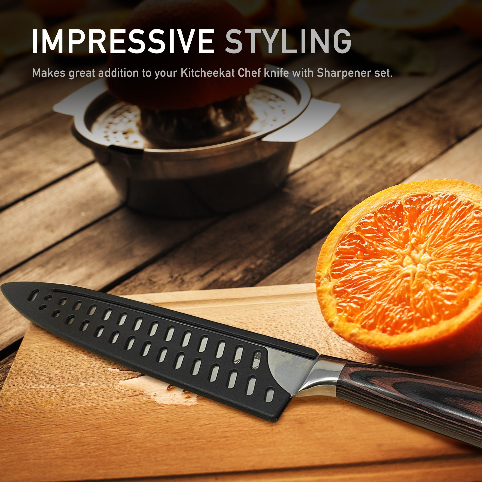 8 Inch Perforated Kitchen Knife Guard | Fits Slim Style 8-Inch Chef Knives Keeps Blade Sharp | Unique Design Prevents Moisture and Helps Drying | Stores Flat In Your Drawer, Excellent For Travel by Kitcheekat (Image #1)