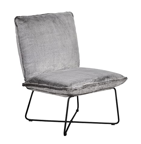 Elle Decor UPH10033F Bennie Accent Chair Armless Lounge, Gray Faux Fur
