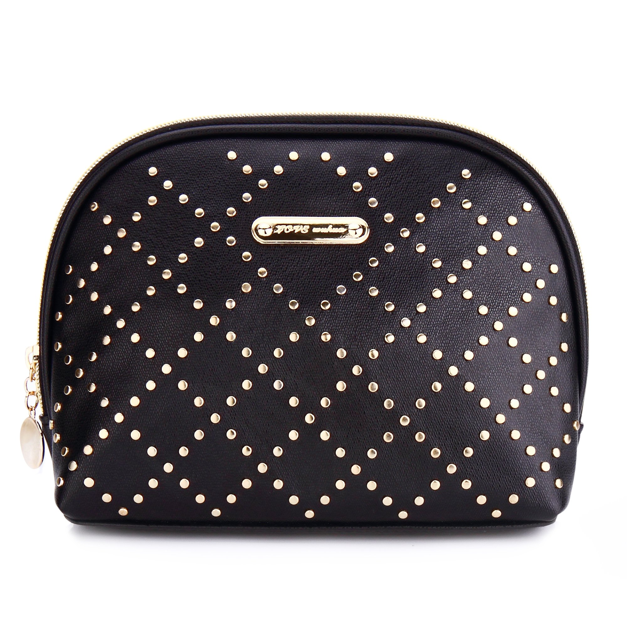 Rivet Golden Makeup Bag,Half Moon Cosmetic/Storage Bag with Zipper,Travel Portable party beauty Collection Organizer Toiletry Bag for Women