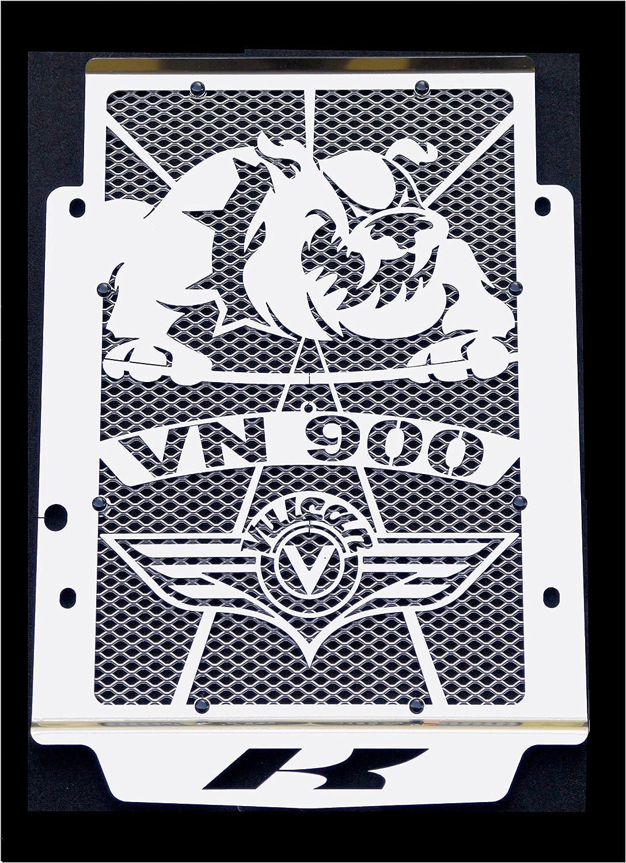 protección de radiador Vulcan 900 VN 2006>2016 todo modelo design « Bulldog » + alambrera argentada de protección