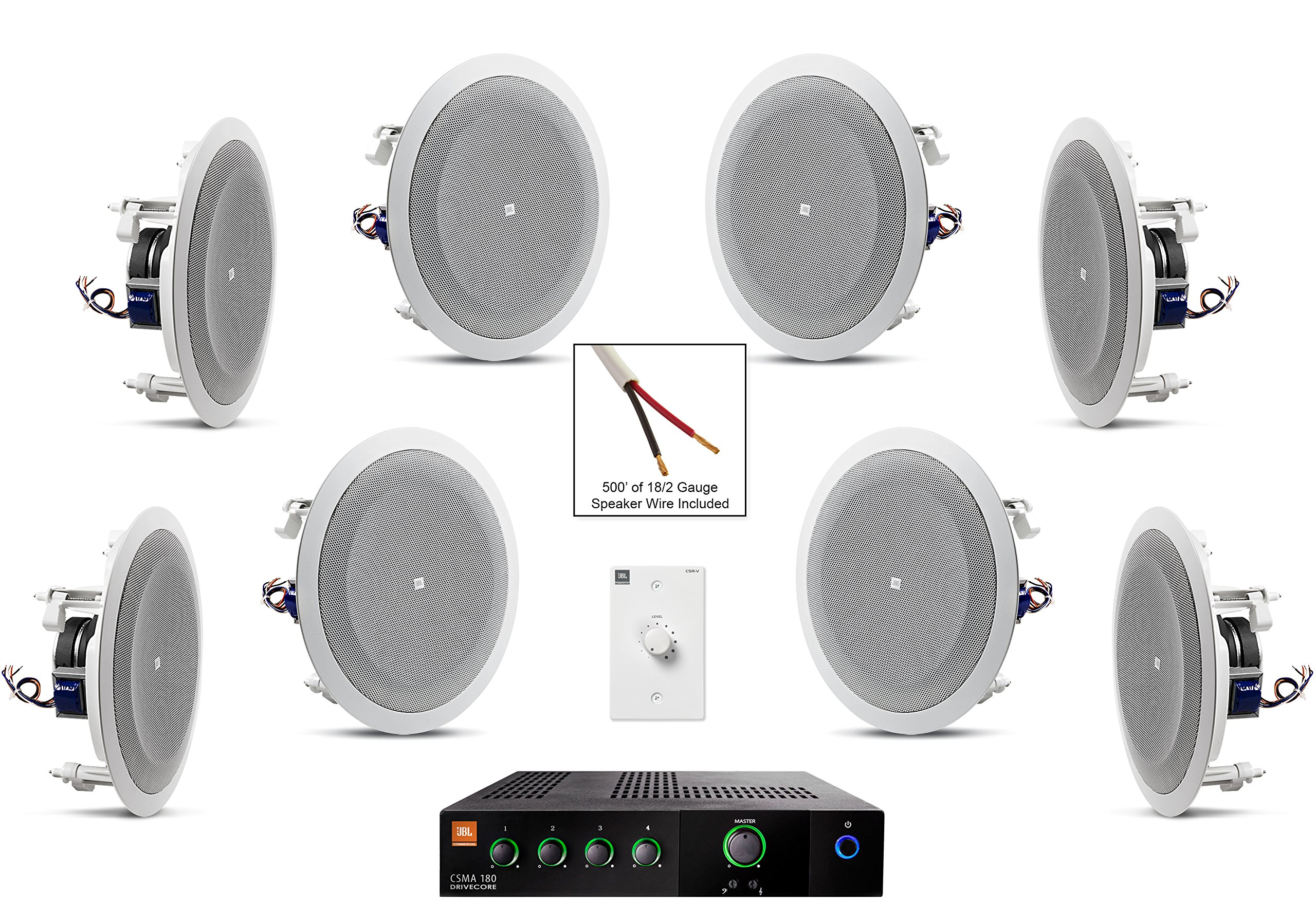 JBL 8128 In-Ceiling Loudspeaker Bundle with JBL CSMA 180 Mixer Amplifier and Accessories - Restaurant Sound System (35 Items)