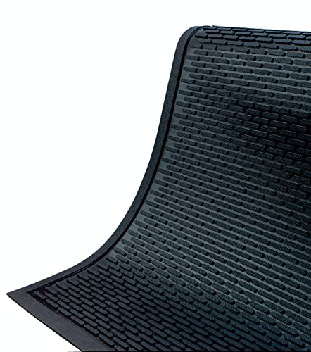 SuperScrape Mat Outdoor Slip-Resistant Durable Rubber Entrance Mat Black, 3 x 5