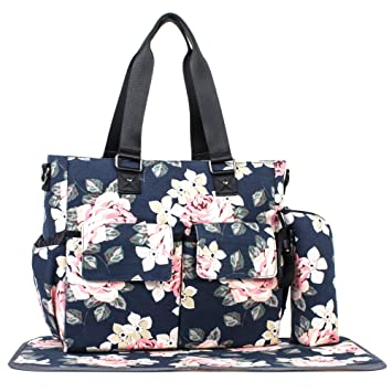 1f01fd2a21a451 Amazon.com : Womens Large Canvas Floral Diaper Bag Multi-Function Tote Bag  Changing Pad Blue : Baby