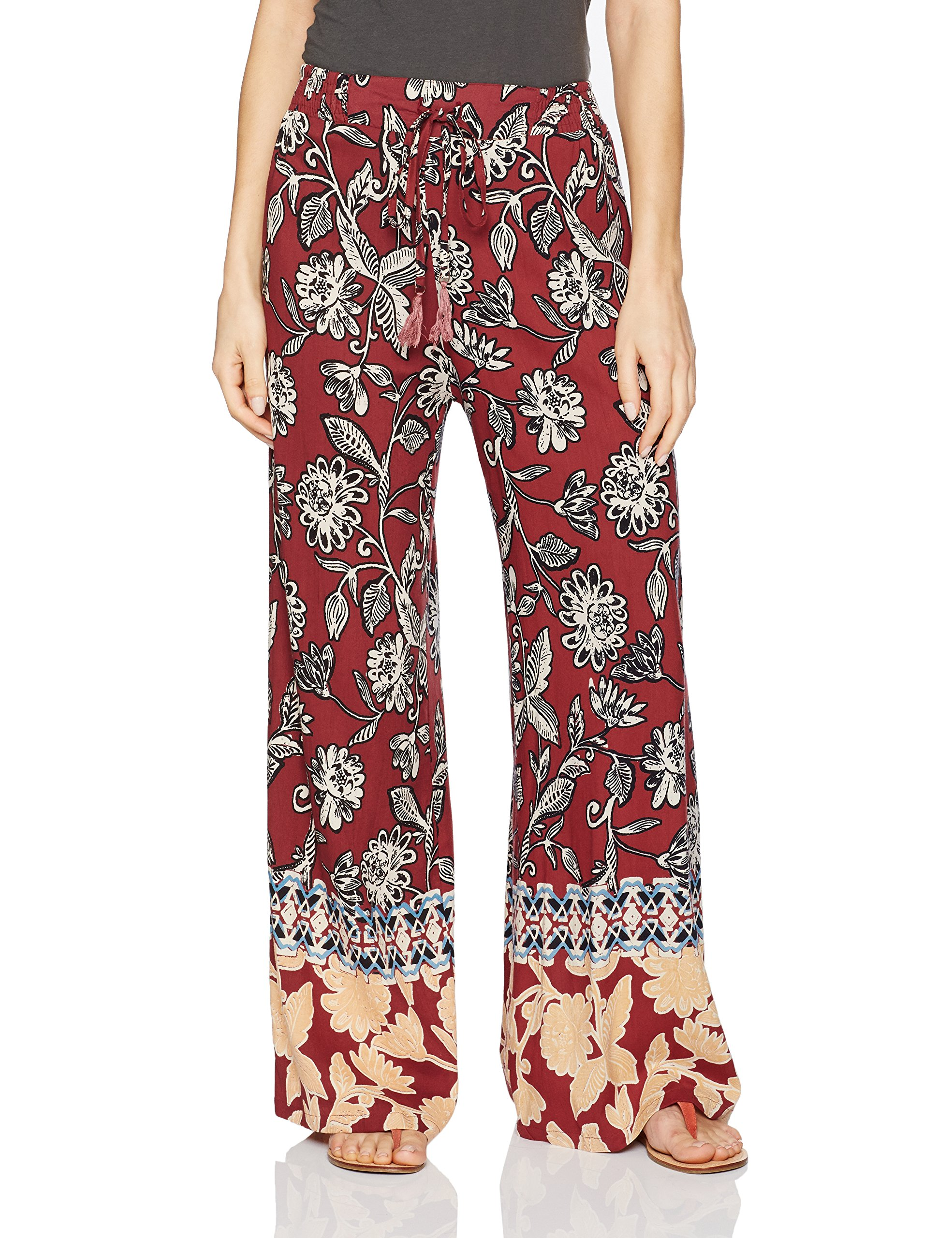 Angie Women's Print Wide Leg Pant with Tassel, Port, Medium