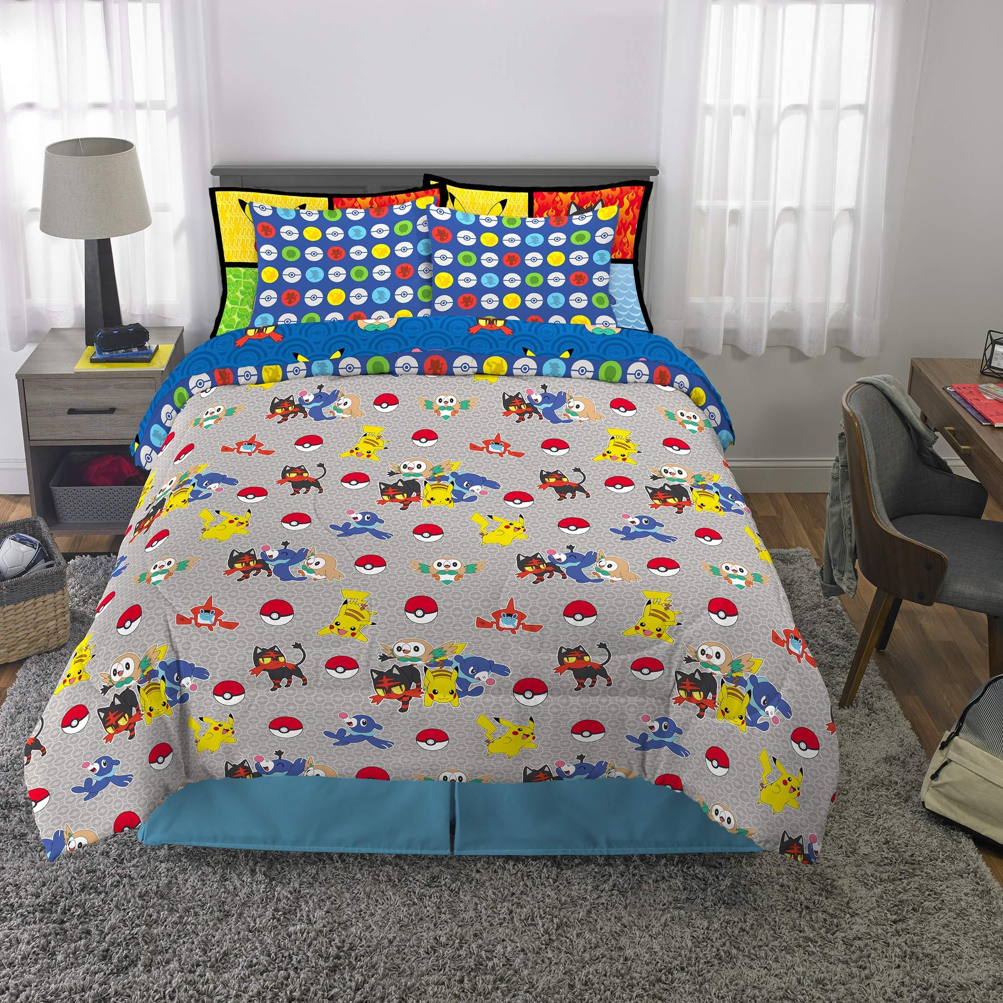 Franco Kids Bedding Super Soft Comforter and Sheet Set with Bonus Sham, 7 Piece Full Size, Pokemon by Franco