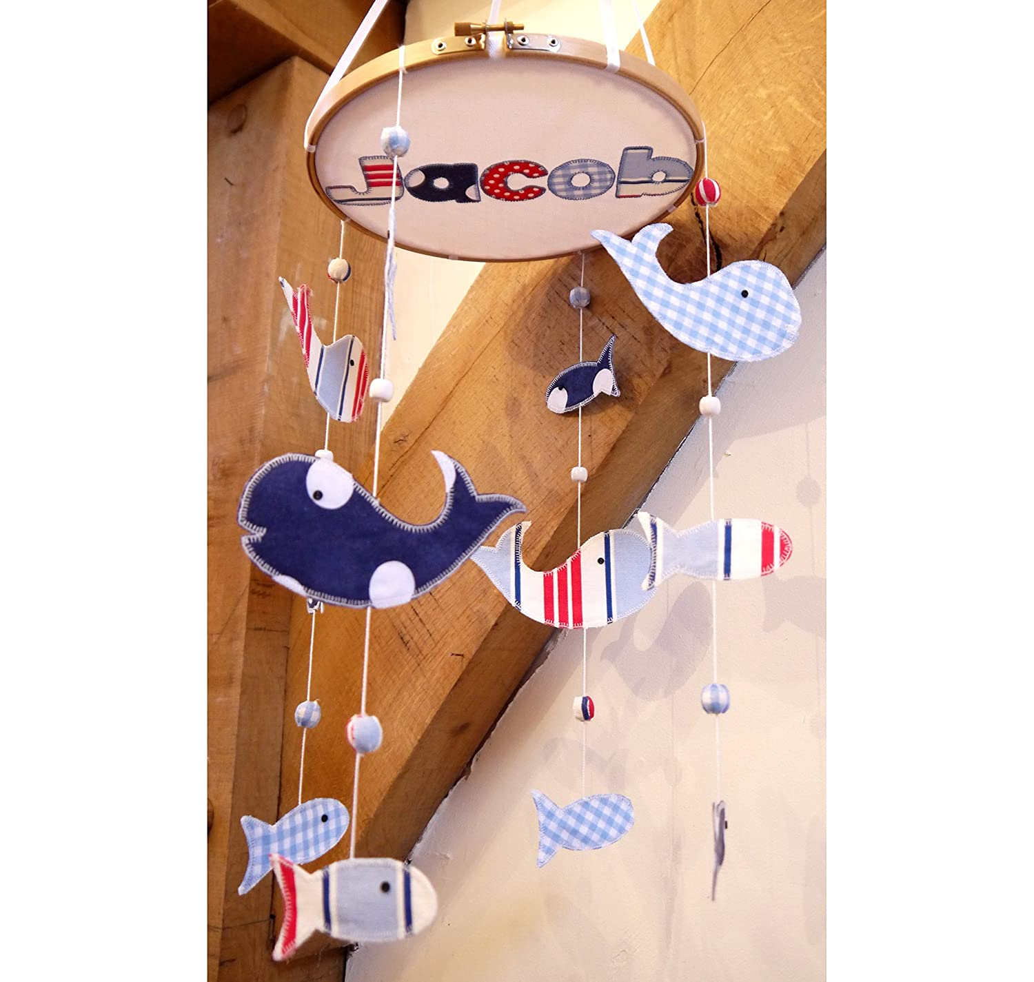 Nautical nursery mobile – whale and fish