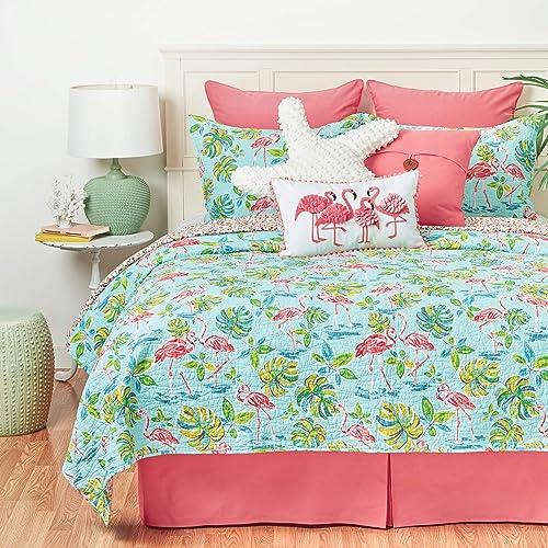 C F Home Blue and Pink Flamingo Garden Twin Cotton Quilt Set Reversible Machine Washable Bedding Beach Ocean Coastal Tropical Twin 2 Piece Set Blue