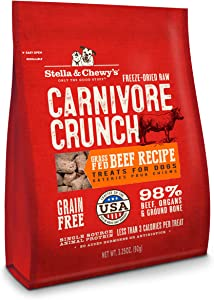 Stella & Chewy's Freeze-Dried Raw Carnivore Crunch Grass-Fed Beef Recipe Dog Treats, 3.25 oz bag