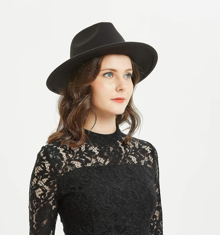 6f6547e5fd77d Women or Men Woolen Felt Fedora Vintage Short Brim Crushable Jazz Hat at  Amazon Women s Clothing store