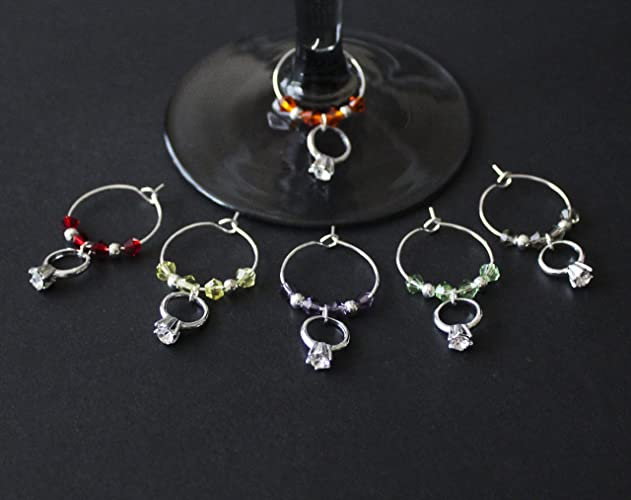 Amazon.com: WEDDING/ENGAGEMENT RING WINE GLASS CHARMS-SET OF 6 ...