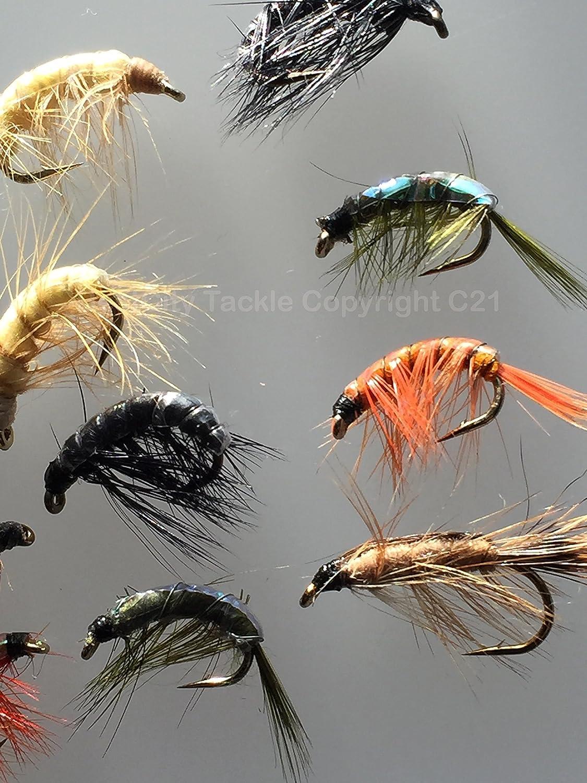 Pesca moscas camarones y arrastrarte ninfas doce tamaño del paquete 8-12 UK calidad atada moscas Hangerworld #18: Amazon.es: Deportes y aire libre