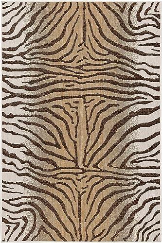Liora Manne Indoor Outdoor Rug, 7 10 x 9 10 , Zebra Sand