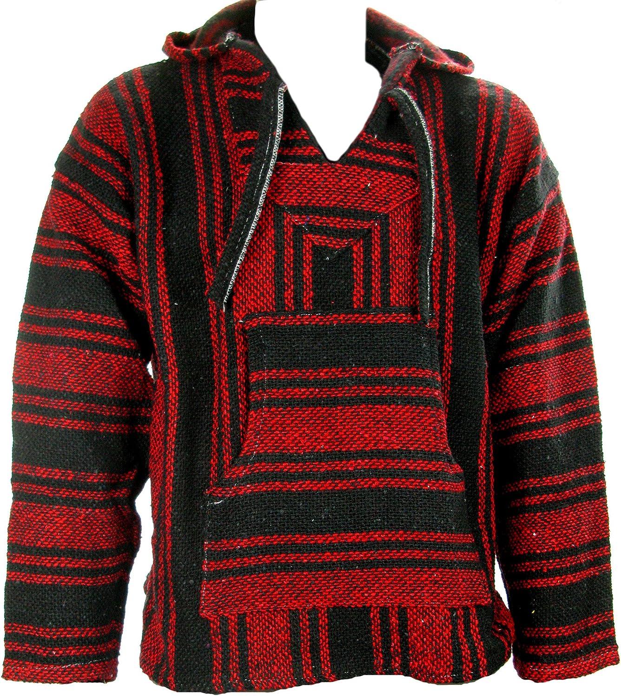 Sudadera con capucha estilo mexicano, diseño hippy, talla S, M, L, XL y XXL, color negro y rojo