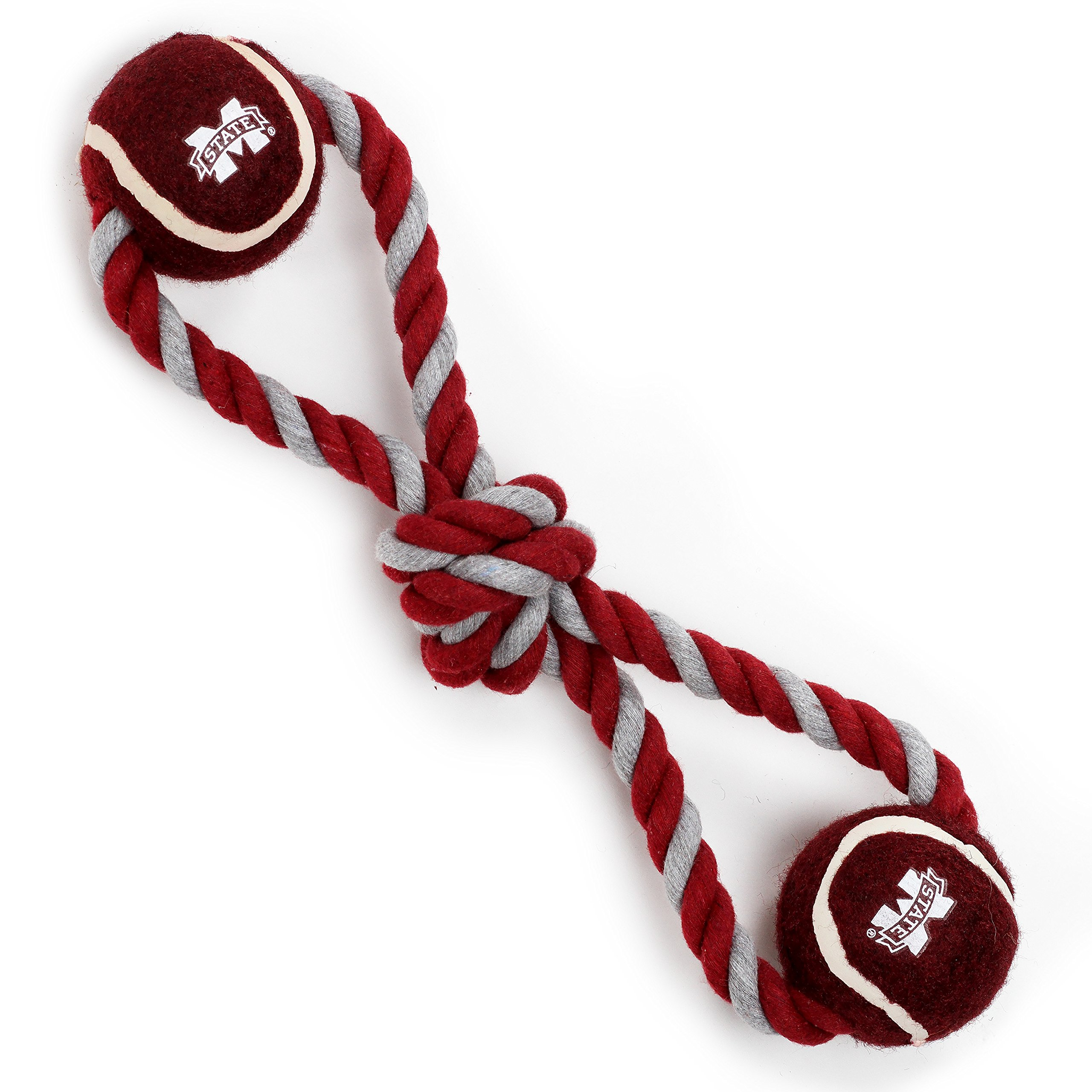 Pet Goods Manufacturing Mississippi State Bulldogs Double Ball with Dog Toy Rope