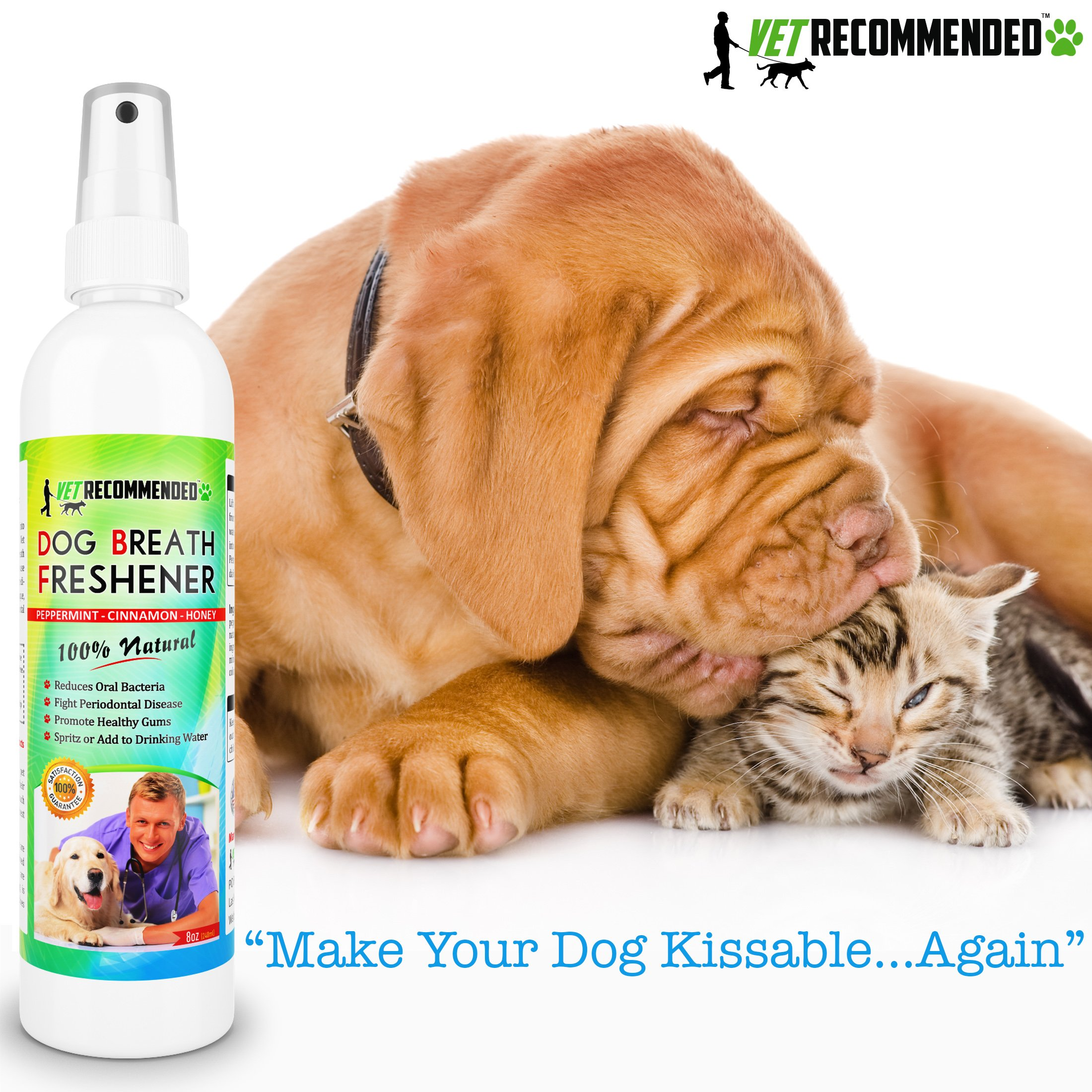 Vet Recommended Dog Breath Freshener & Pet Dental Water Additive (8oz/240ml) All Natural - Perfect for Bad Dog Breath & Dog Teeth Spray. Spray in Mouth or Add to Pet's Drinking Water. USA Made. by Vet Recommended (Image #3)