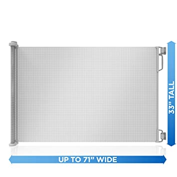 """White Extra Wide up to 71"""" Perma Child Safety Outdoor Retractable Baby Gate"""