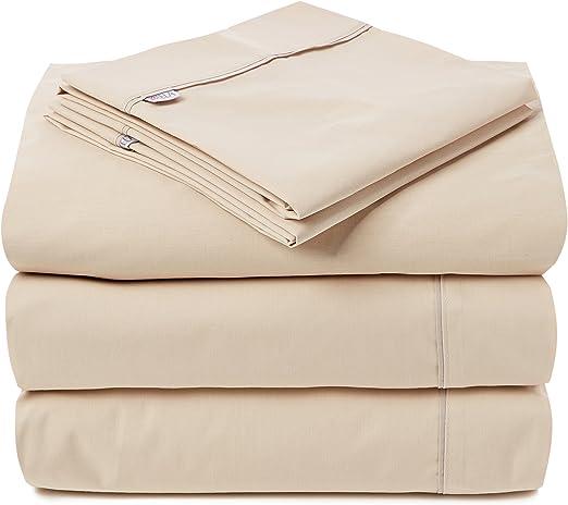 Es-Tela - Juego de sábanas liso con biés, color camel, cama de 160 ...