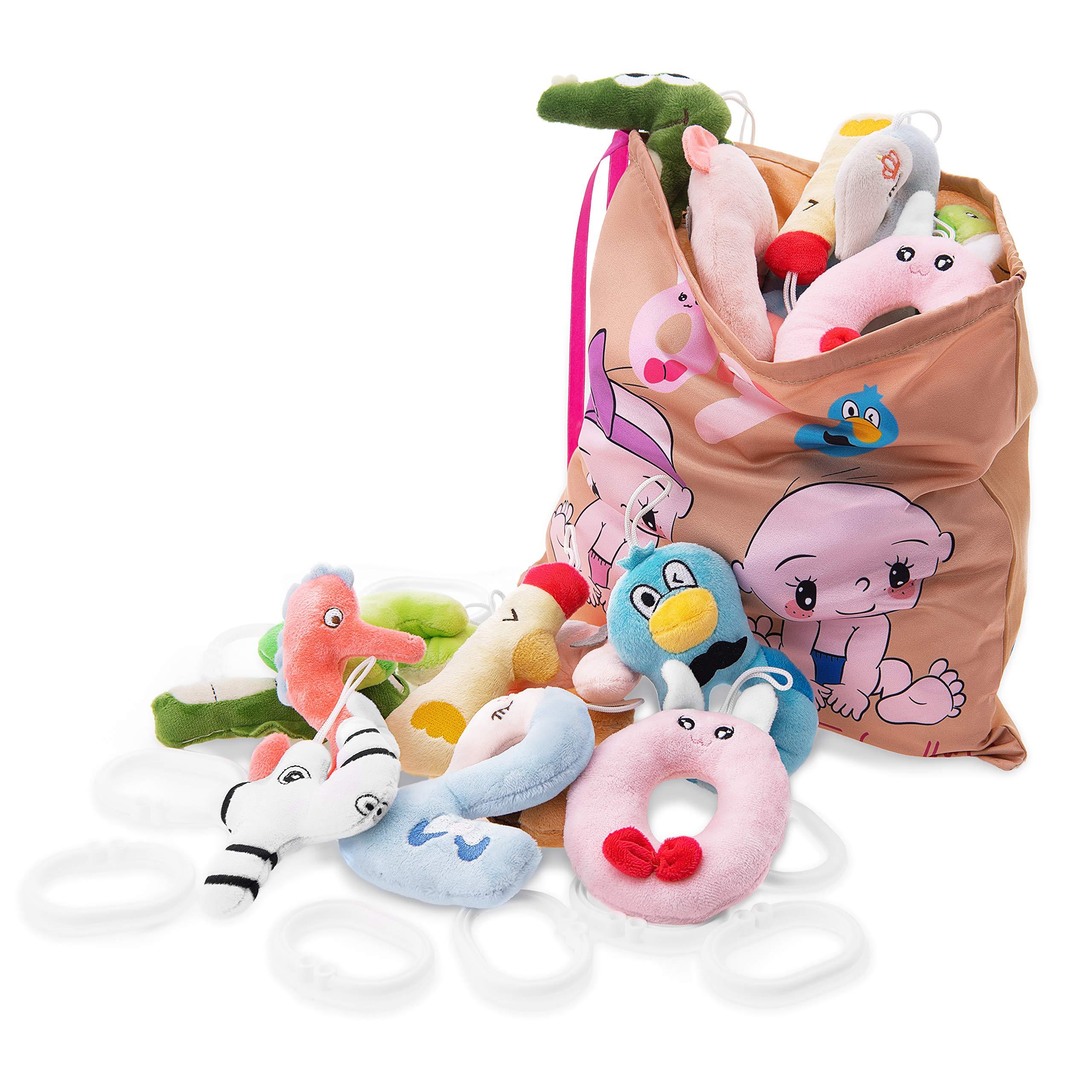KLASSMIX Plush Montessori Toys for Toddlers - Set of Numbers & Storage Bag - Travel Stroller Quiet Toys - Carseat Toys for Infants - Montessori Toys for Toddlers