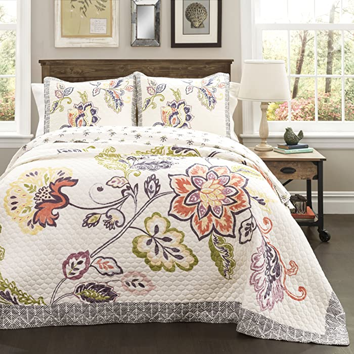 Lush Decor Aster Quilt Flower Pattern Reversible Coral and Navy 3 Piece Lightweight Bedding Set, King,