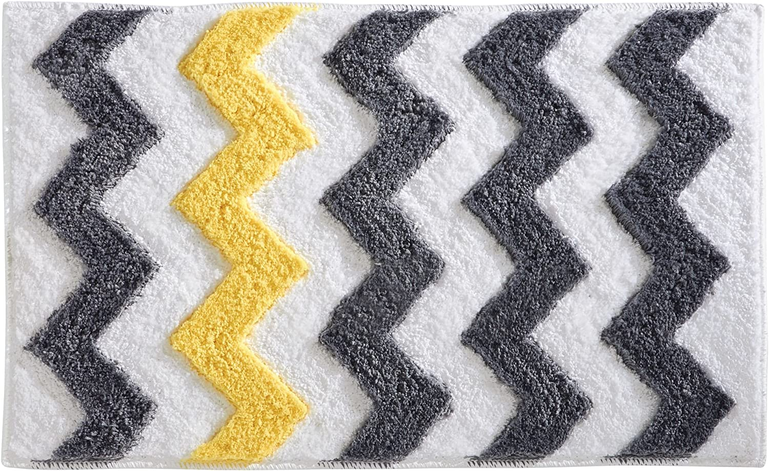 Idesign Chevron Bath Rug Machine Washable Microfiber Accent Rug For Bathroom Kitchen Bedroom Office Kid S Room 34 X 21 Gray And Yellow Home Kitchen