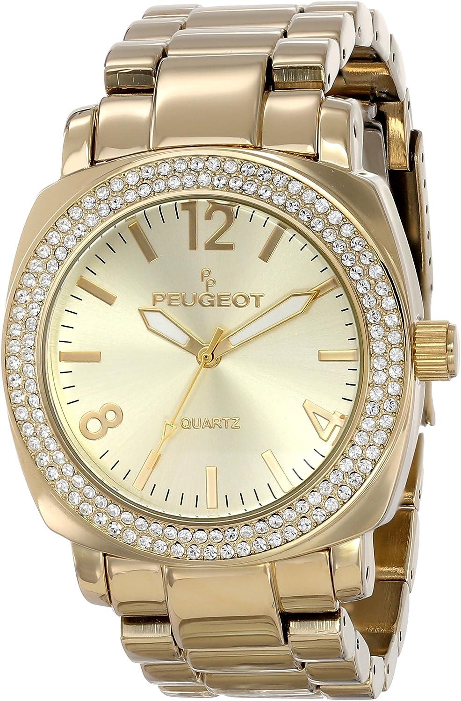 Peugeot Women s 7075RG Boyfriend Oversized Watch with Swarovski Crystal Bezel Metal Link Rose Gold Watch Bracelet
