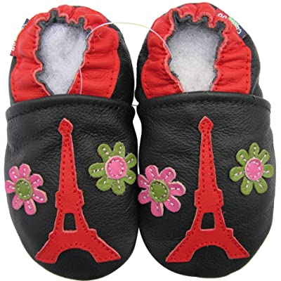 Carozoo baby girl soft sole leather infant toddler kids shoes Eiffel Tower Flower 6-7y