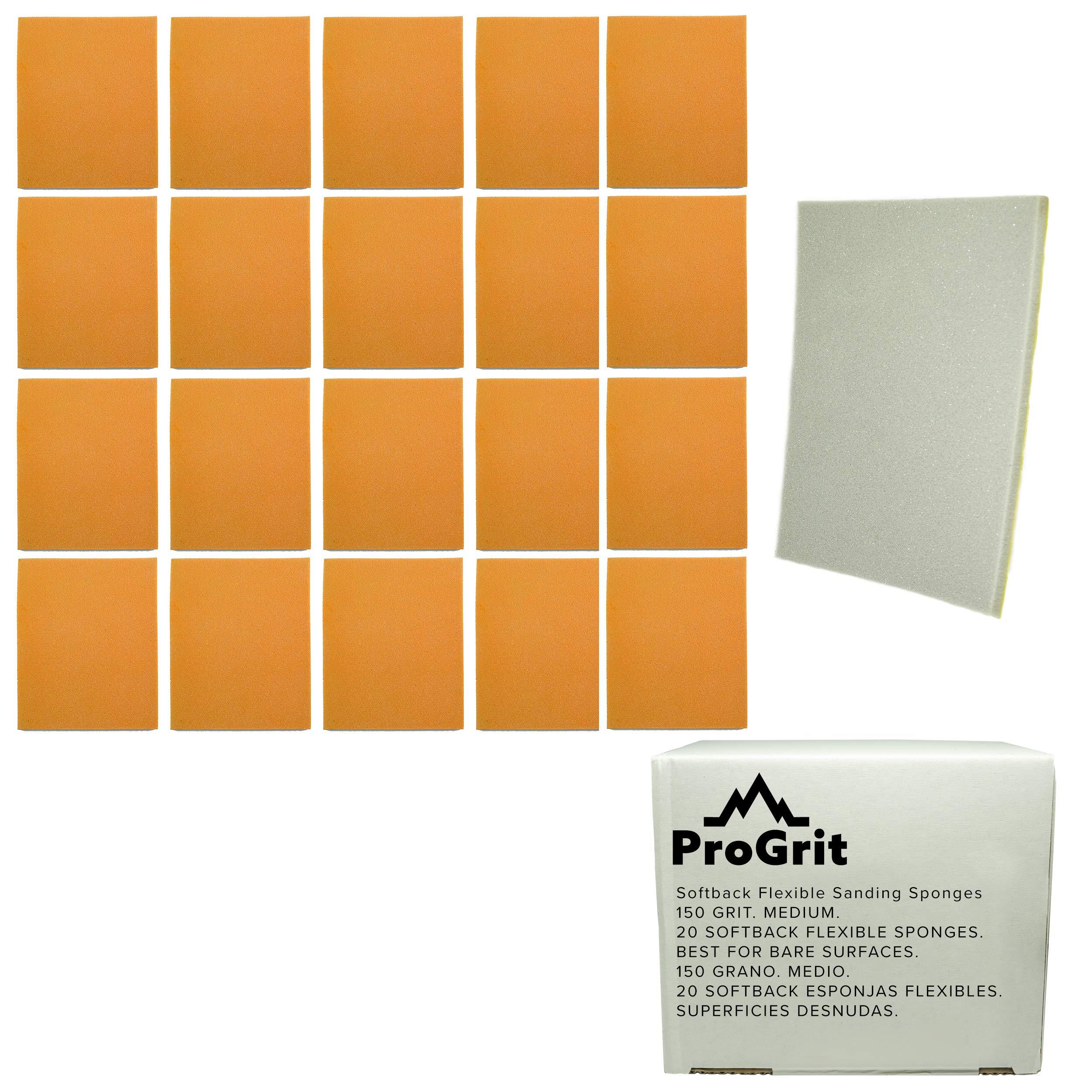 20 Pack ProGrit Hand Sanding Sponges Medium 150 Grit Bare Surface Flexible Softback Wet Dry