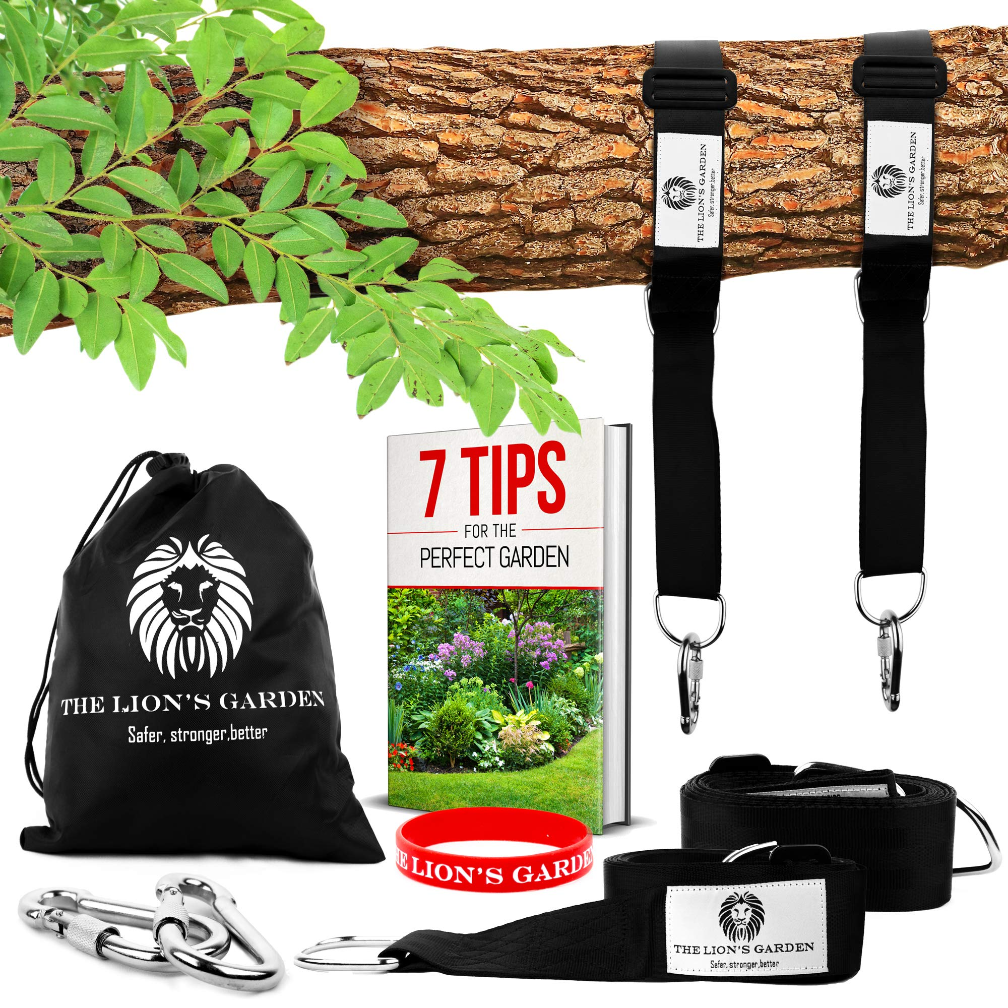 Adjustable 5-10ft Premium Tree Swing Straps Hanging Kit - The Lion's Garden Tree Swing Straps Hanging Kit Holds 3876 LBS With 2 Heavy Duty Carabiners - Perfect For Swings & Hammocks by The Lion's Garden