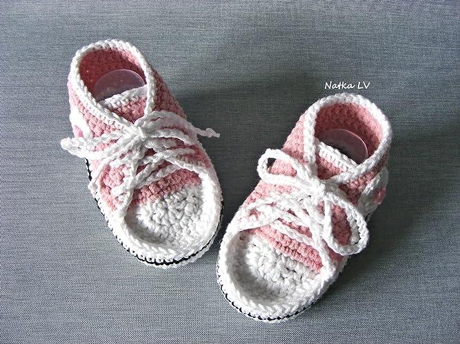 c7293aafc5a99 Amazon.com: Baby light pink booties, baby crochet sneakers, baby ...