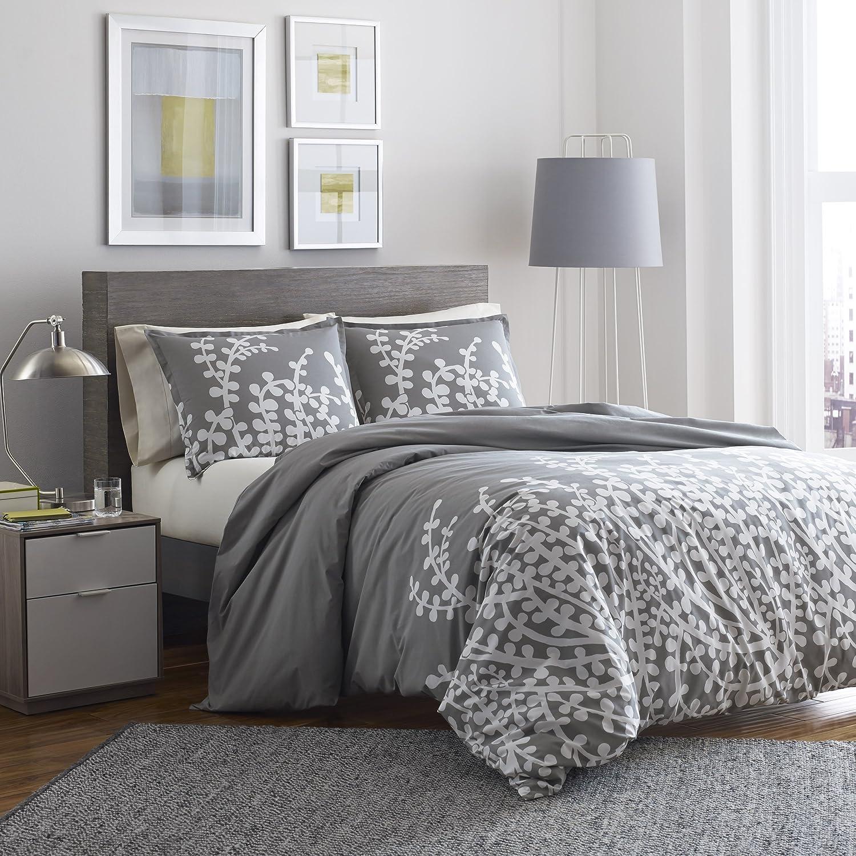 City Scene Branches Gray Cotton Comforter Set, King