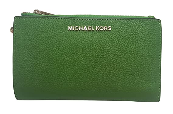 0351bd25f783db Image Unavailable. Image not available for. Color: Michael Kors Jet Set  Travel Double Zip Wristlet Leather Wallet 7-8 Jungle Green