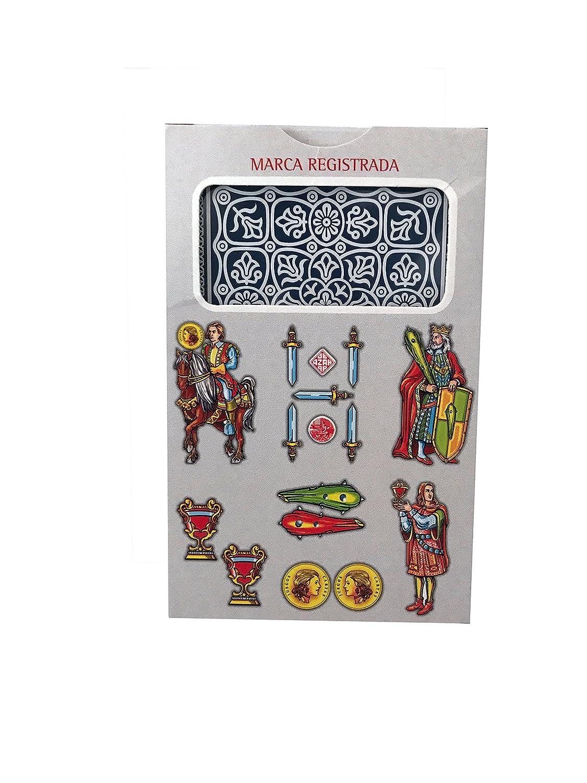 Maestros Naiperos- baraja, española, 50, Cartas, Estuche de cartón, Calidad Casino, Color Azul y Rojo (130003067)