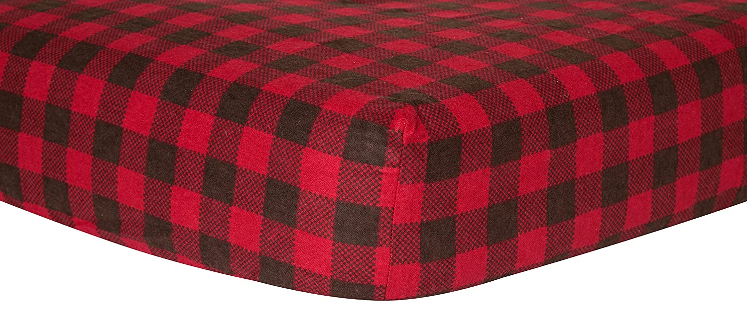 Trend Lab Crib Sheet, Brown and Red Buffalo Check 100045
