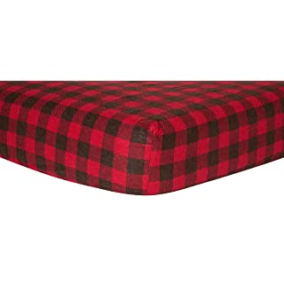 Trend Lab Crib Sheet, Brown and Red Buffalo Check