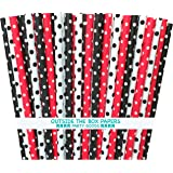 Outside the Box Papers Ladybug Theme Polka Dot Paper Straws 7.75 Inches 75 Pack Black, Red, White