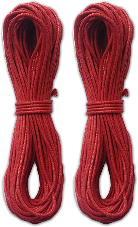 Red Pack of 2 LWR Crafts 2mm Waxed Cotton Cord 45 Feet Per Pack