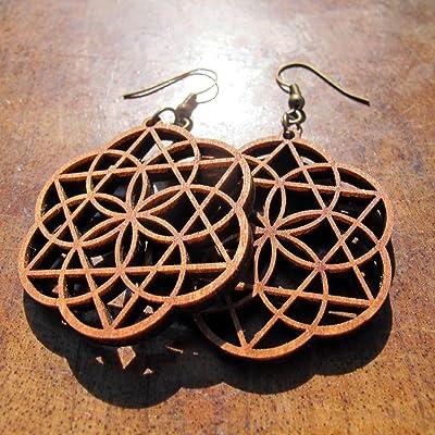 Eclipse Wooden Earrings 0g, Seed of life + Merkaba Star, Sacred Geometry Jewelry
