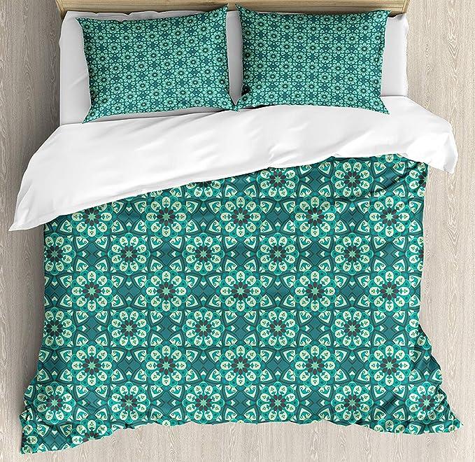 Disposición de la funda nórdica azul-verde, mandala patrón de ...